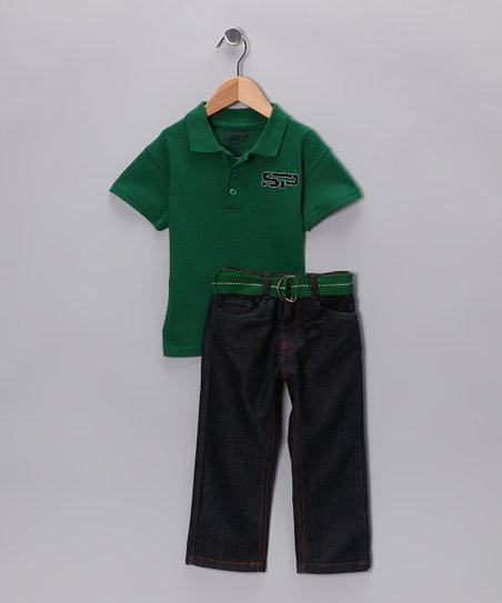 Green Polo & Belted Jeans - Toddler
