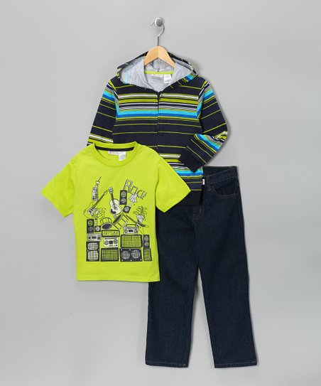 Yellow Stripe Zip-Up Hoodie Set - Infant, Toddler & Boys