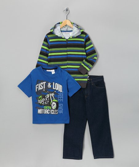 Longstreet Blue Stripe Jeans Set - Toddler & Boys