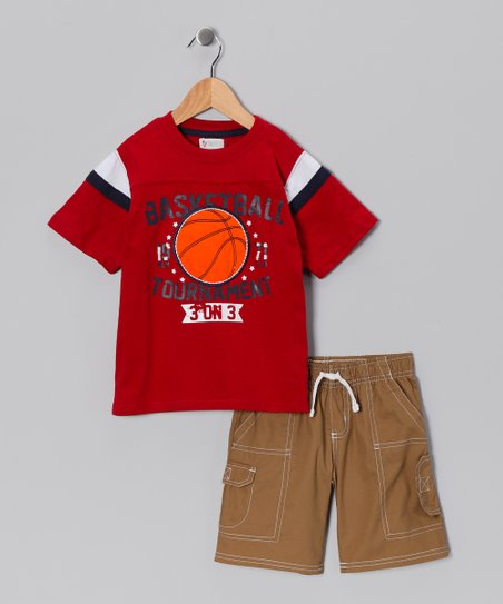 Longstreet Red Basketball Tee & Shorts - Toddler & Boys