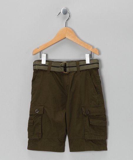 Army Green American Hawk Shorts & Belt - Boys