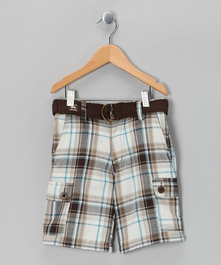 White Plaid American Bulldog Shorts - Boys