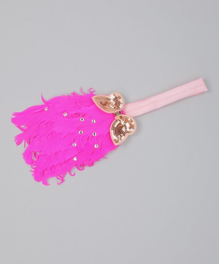 Hot Pink Butterfly Feather Headand