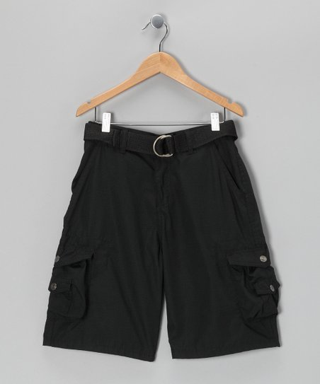 Black Snap Pocket Cargo Shorts - Boys