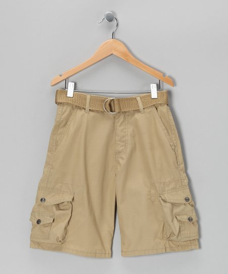 British Khaki Cargo Shorts - Boys