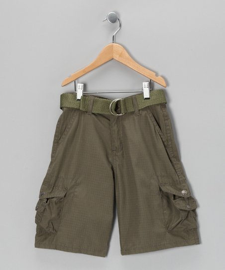 Olive Mini Pocket Cargo Shorts - Boys