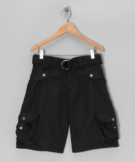 Black Snap Pocket Cargo Shorts