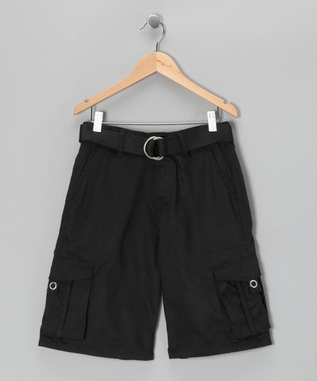 Black Stripe Cargo Shorts - Boys