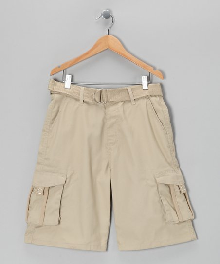 Khaki Stripe Cargo Shorts - Boys
