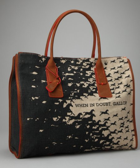 Black 'When In Doubt, Gallop' Tote