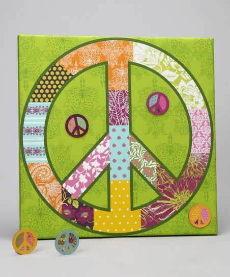 Green Peace Sign Canvas Magnet Memo Board