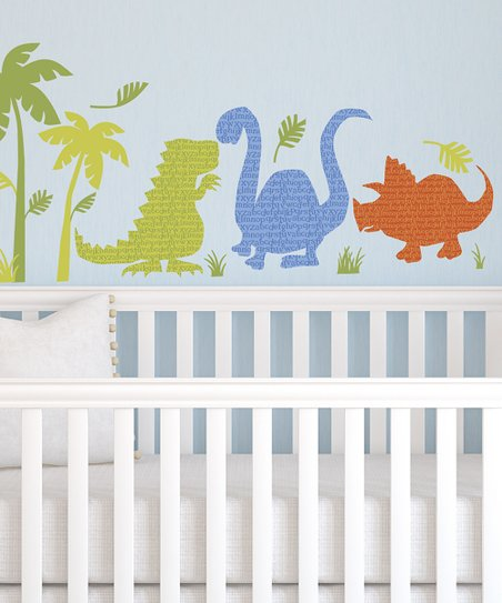 Green & Blue Dinosaur Walk Wall Decal Set
