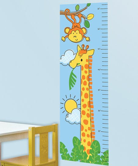 Blue &amp; Yellow Safari Friends Growth Chart Wall Decal