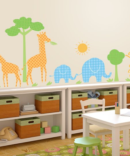 Blue & Orange Safari Wall Decal Set