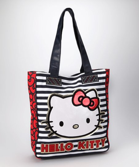 Red Stripe Hello Kitty Tote