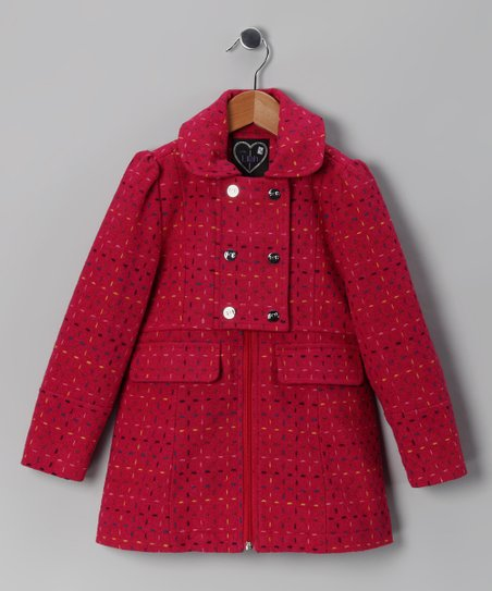 Love, Lilah Raspberry Stitch Novelty Coat - Girls