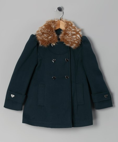 Evergreen Faux Fur Peacoat - Girls