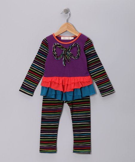 Purple Stripe Bow Tunic & Leggings - Girls
