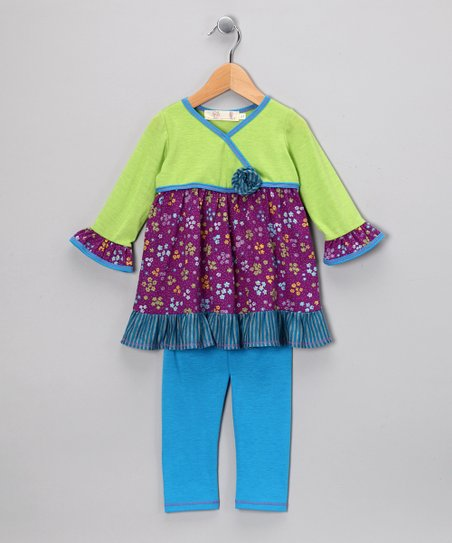 Lime Flower Surplice Tunic & Leggings - Toddler & Girls