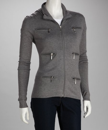 Love Token Gray Triple Zipper Jacket