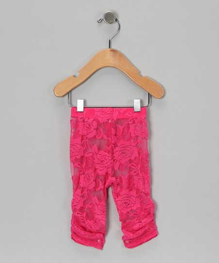 Hot Pink Lace Leggings - Infant, Toddler & Girls