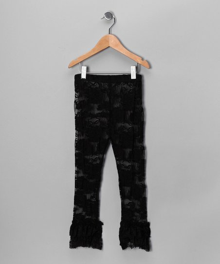 Black Ruffle Lace Leggings - Infant, Toddler & Girls