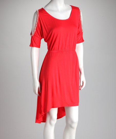 Red Pearl Cutout Hi-Low Dress