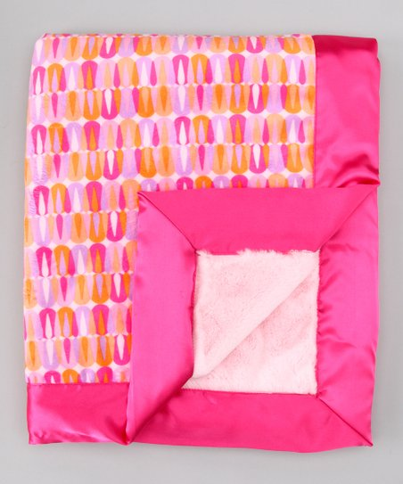 Pink & Raspberry Cindy Satin-Trim Velour Stroller Blanket