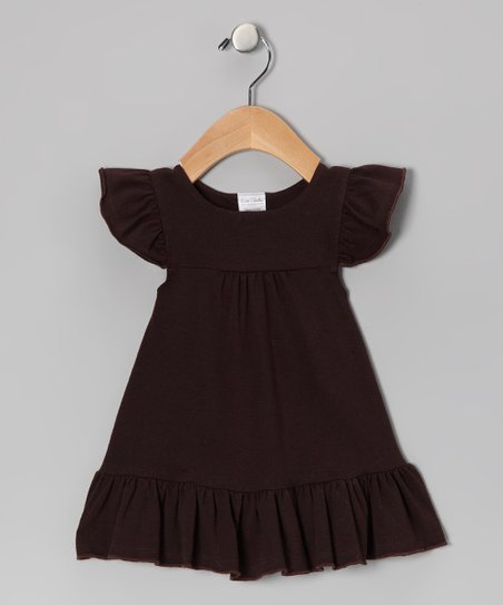Brown Angel-Sleeve Dress - Infant