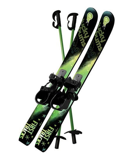 Green 70-Cm Beginner Snow Skis & Poles