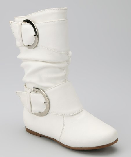 White Data Buckle Boot
