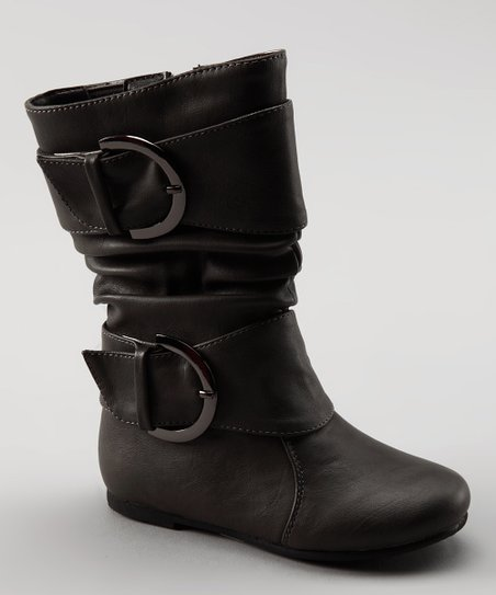 Gray Data Buckle Boot