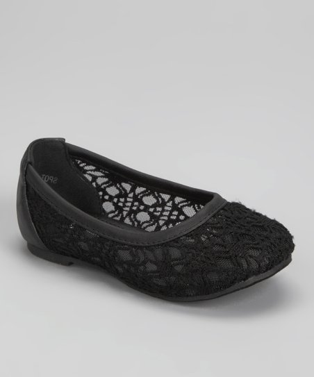 Black Crocheted Ballet Flat