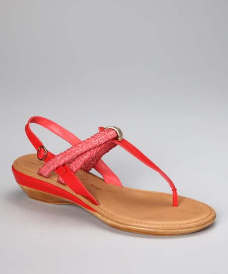 Coral Woven Margarita Ankle-Strap Sandal