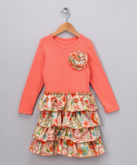 Lullaby Dreams Orange Bird Dress - Toddler & Girls