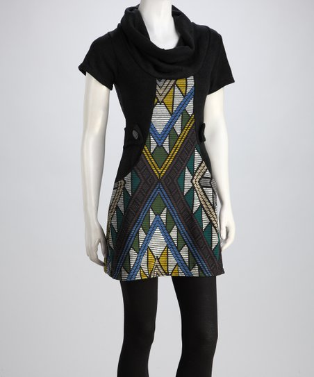 Green & Black Sabine Cowl-Neck Sweater Dress