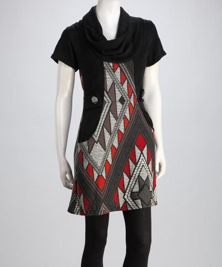 Red & Black Sabine Cowl-Neck Sweater Dress