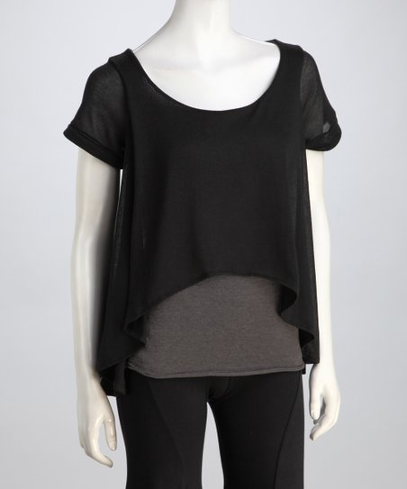 Luna Claire Black & Gray Vera Hi-Low Layered Top