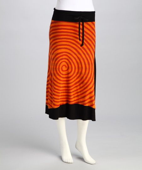 Orange & Black Swirl Sylvia Skirt