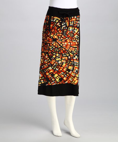 Orange &amp; Black Abstract Swirl Tabitha Skirt