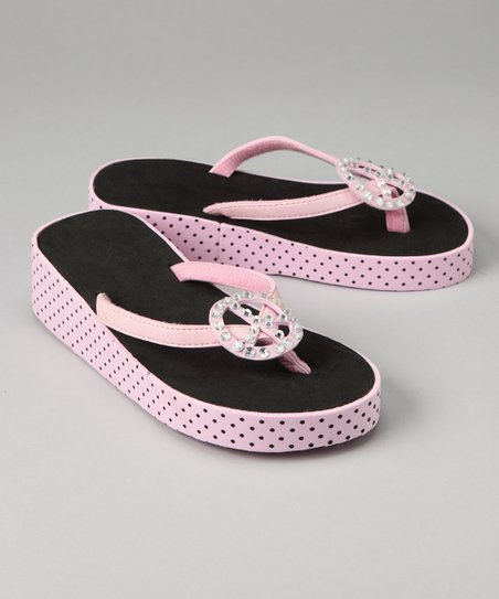 Light Pink & Black Peace Sign Flip-Flop