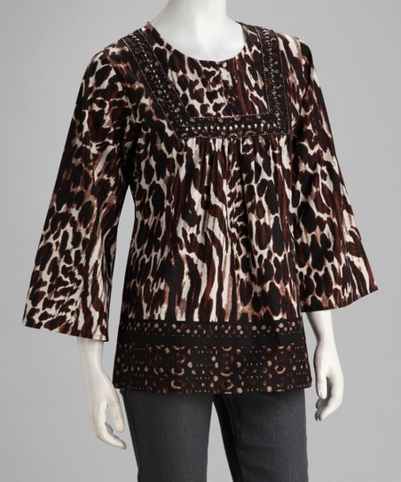 Beige & Black Animal Studded Tunic - Women
