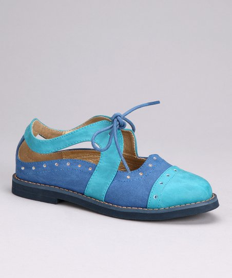 Aqua &amp; Blue Cutout Oxford