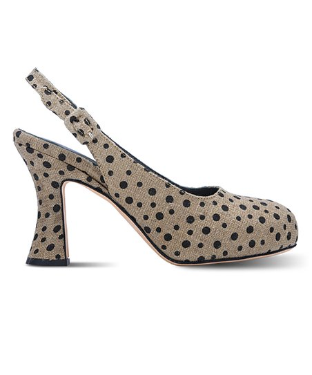 Natural &amp; Black Polka Dot Mylene Slingback