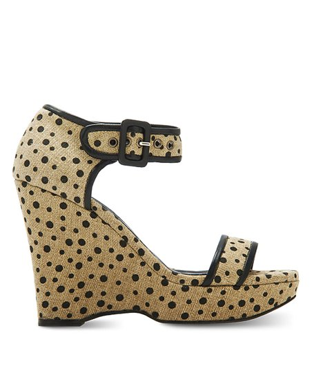 Natural & Black Polka Dot Claudette Wedge