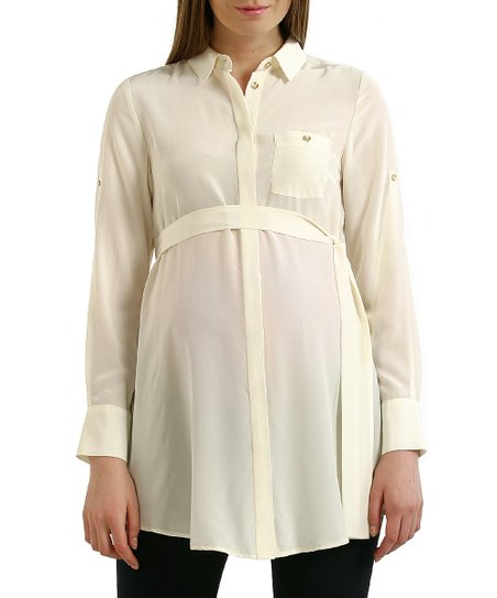 Cream Anna Silk Maternity Tunic