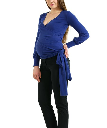 Royal Blue Evelyn Maternity Wrap Top
