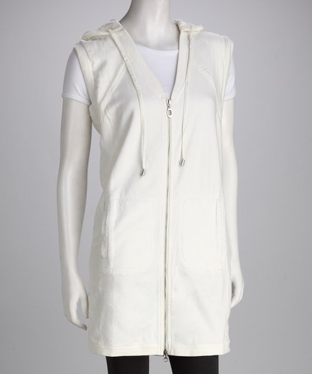 Off-White Zip-Up Hooded Tunic