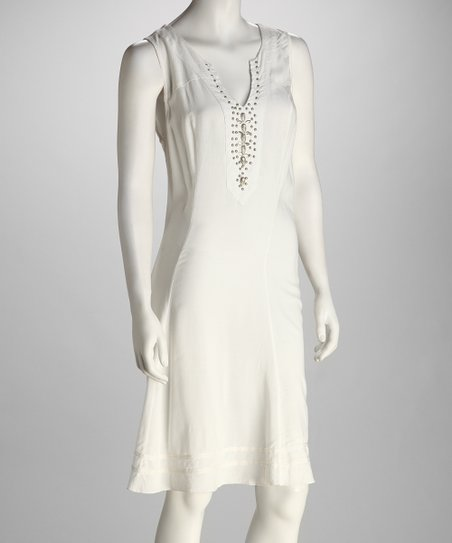 White Studded Embroidered Dress