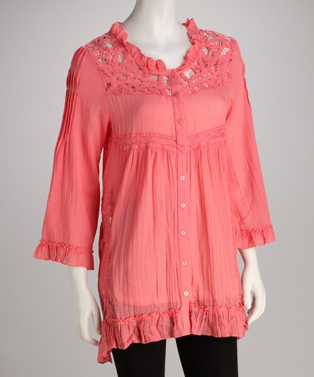 Coral Lace Button-Up Tunic